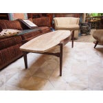 Image of Travertine & Wood American Modern Coffee Table