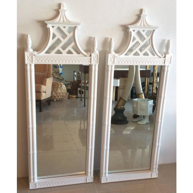 Vintage Chinese Chippendale Pagoda Faux Bamboo Wall Mirrors - A Pair - Image 6 of 11