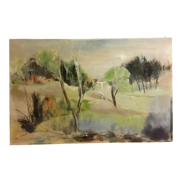 Mid-Century Impressionist Landscape Oil Painting - Image 1 of 6