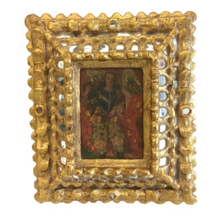Vintage Spanish Religious Painting in Antique Mirrored Frame