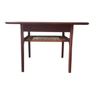 DanishZModern Trioh Møbler End Table - Teak Frame and Rattan Shelf