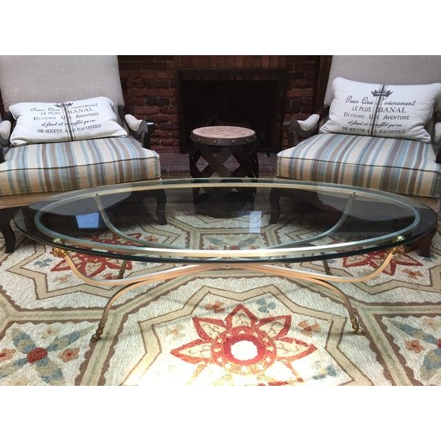 Maison Jansen Brass Ram's Head Oval Coffee Table - Image 6 of 9