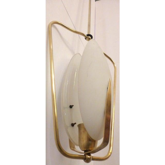 Mid-Century Brass & Glass Pendant Light - Image 8 of 8