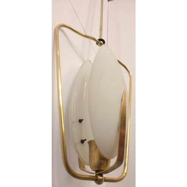 Image of Mid-Century Brass & Glass Pendant Light
