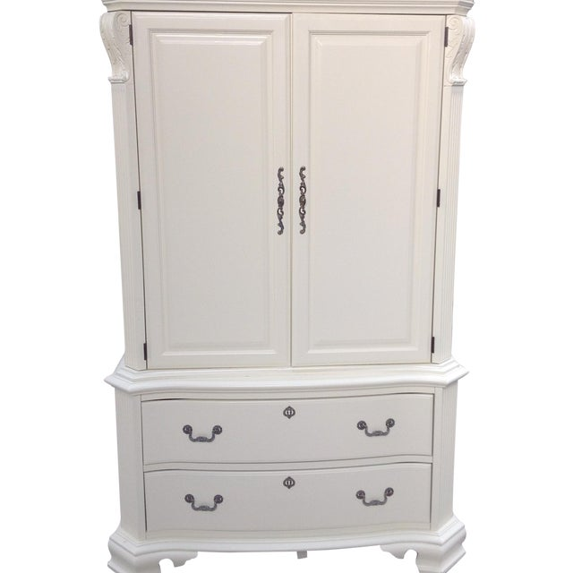 american drew white wood ornate armoire chairish. Black Bedroom Furniture Sets. Home Design Ideas