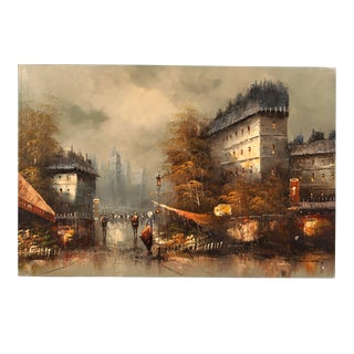 """Contemporary Oil Painting """"European City Street"""""""