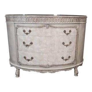 French Rococo Gray Mahogany Demi-Lune Commode