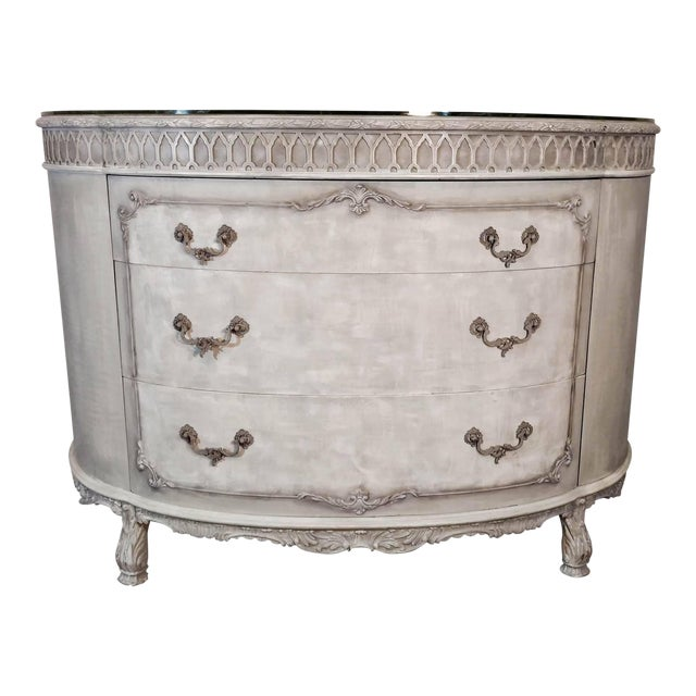 French Rococo Gray Mahogany Demi-Lune Commode - Image 1 of 9