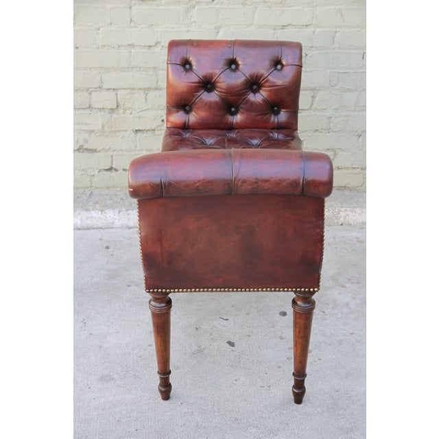 English Leather Tufted Bench Chairish