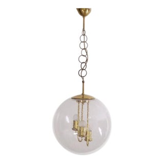 Huge Round Brass Sputnik Chandelier or Pendant Lamp by Doria