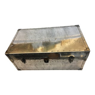 English Industrial Polished Metal Trunk
