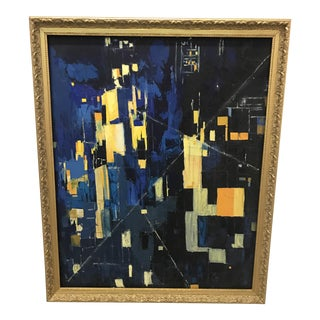 Deep Blue Abstract Oil Painting