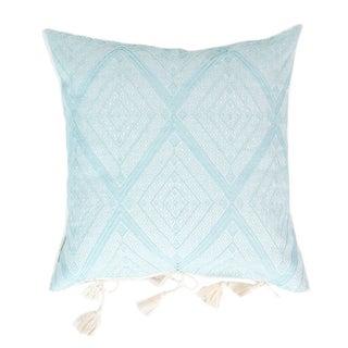 Serenity Blue Diamond Handwoven Mexican Pillow