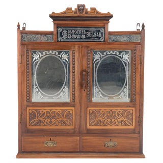 British Colonial Teak And Glass Chemist Cabinet