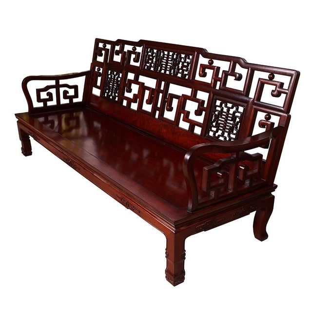 Chinese Antique Carved Rosewood Sofa & Tables Set - Set of 6 - Image 3 of - Chinese Antique Carved Rosewood Sofa & Tables Set - Set Of 6
