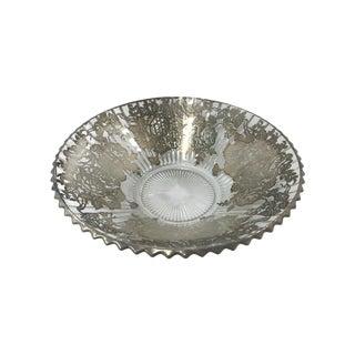 Vintage Heisey Ridgeleigh Rose Silver Overlay Bowl
