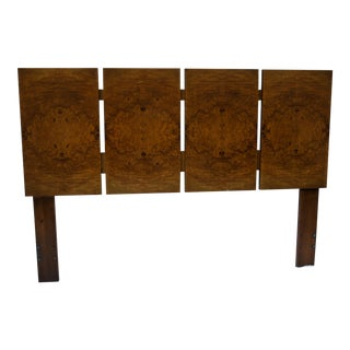 Milo Baughman for Lane Olivewood Burl Queen Headboard