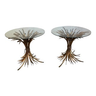 Gold Leaf Sheaf of Wheat Glass Side Tables - a Pair