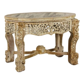19th Century British Colonial Center Table with Mother of Pearl Inlay