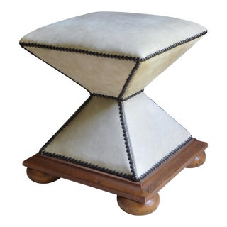 Baker Furniture Cream Leather Ottoman