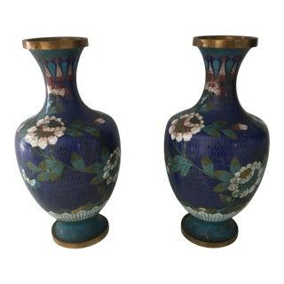 Vintage Colbalt Blue Cloisonné Vases - A Pair