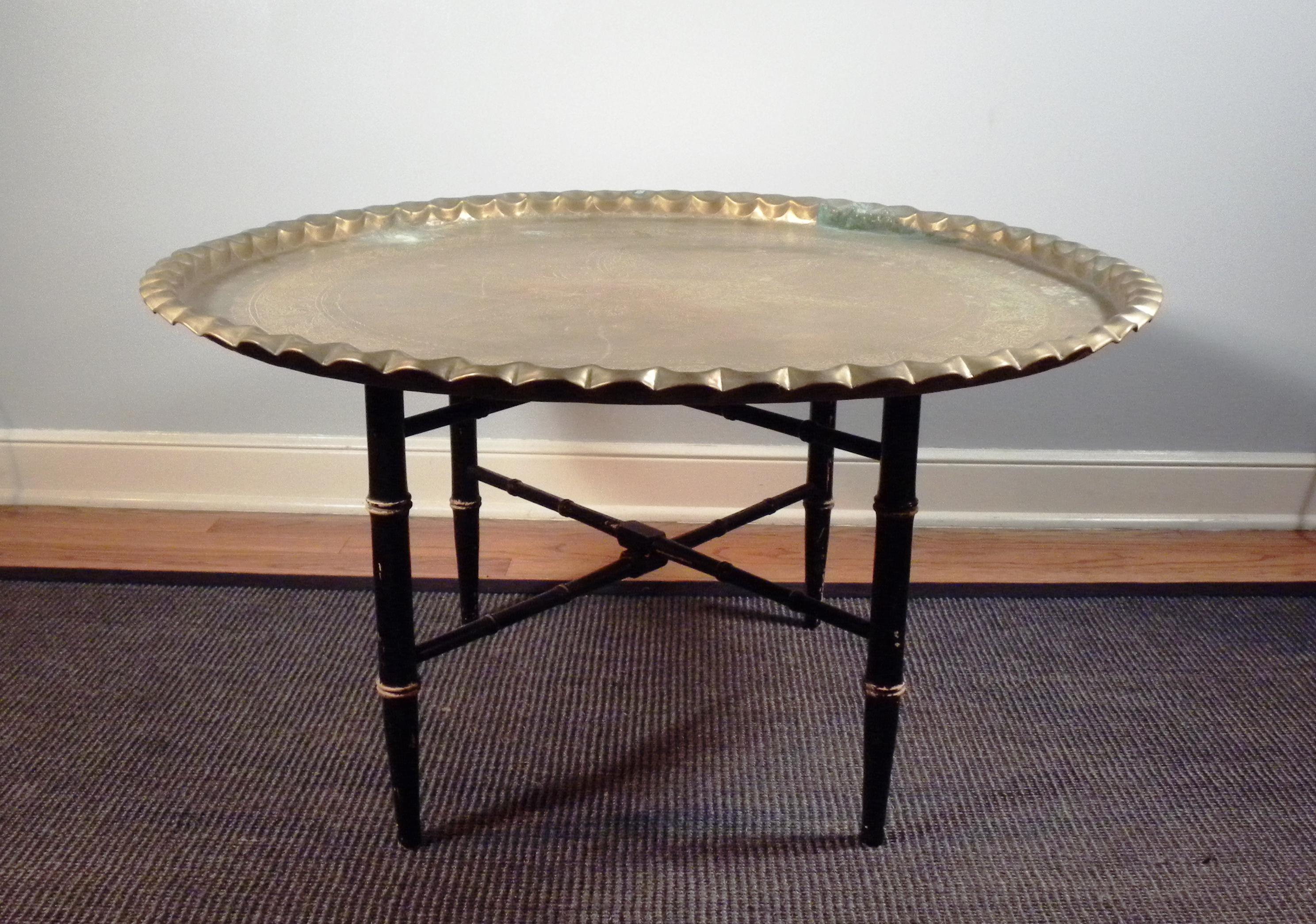 Mid Century Brass Moroccan Folding Coffee Table   Image 2 Of 8