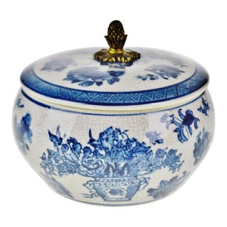 Vintage Blue and White Chinese Porcelain Lidded Bowl