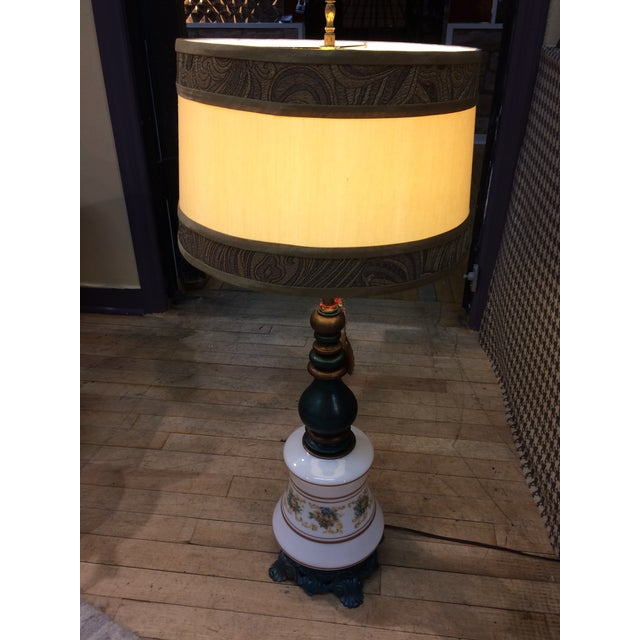 Antique Turquoise Brass Base Table Lamp - Image 5 of 5