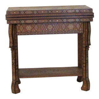 1940s Vintage Morrocan Inlay Game Table