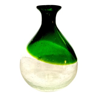 Green and Clear Hand Blown Bubble Art Glass Vase