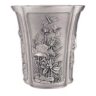 Japanese Four Season Motif Pewter Vase