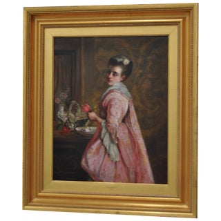 19th-C. Portrait of a Woman in a Pink Dress