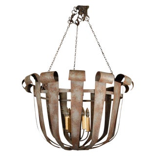 Monumental Industrial Iron Four Light Fixture from France, circa 1940
