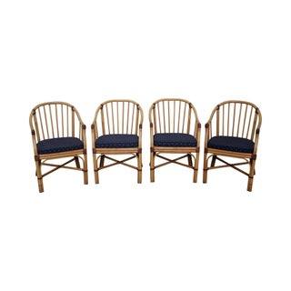 McGuire Style Rattan Barrel Back Dining Chairs - Set of 4