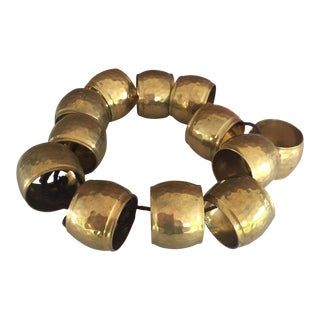 Brass Hand Hammered Napkin Rings - Set of 12