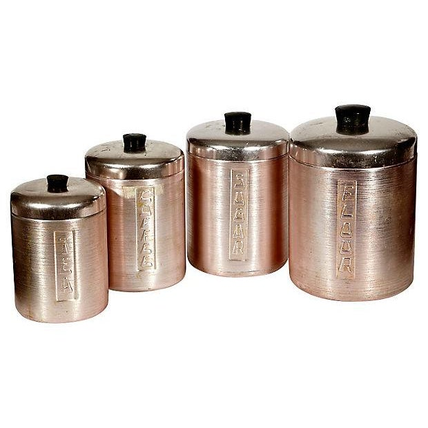 Image of 60s Italian Metal Canisters - Set of 4