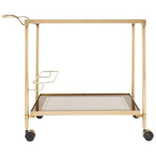 Vintage French Brass Smoked Glass Bar Cart