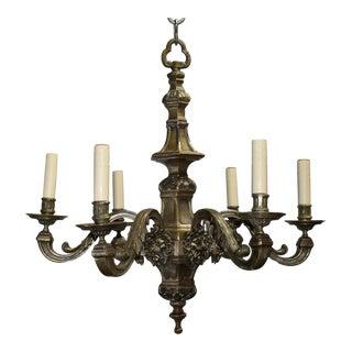 Antique chandelier, silver over bronze