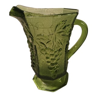 Mid-Century Green Grape Glass Pitcher