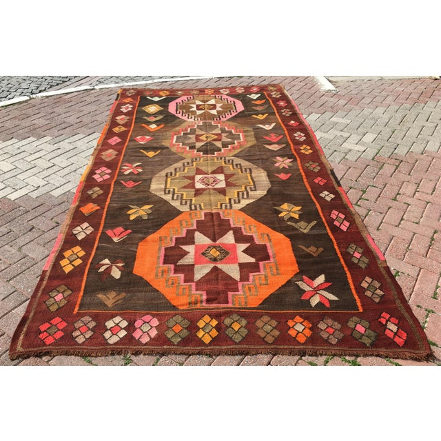 Vintage Turkish Kilim Rug - 6′4″ × 12′ - Image 3 of 10