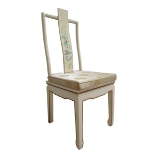 Vintage Chinoiserie White Lacquer Side Chair