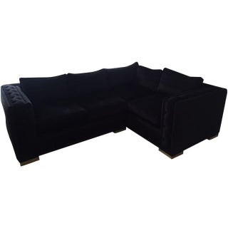 Black Croc Velvet Sectional Sofa