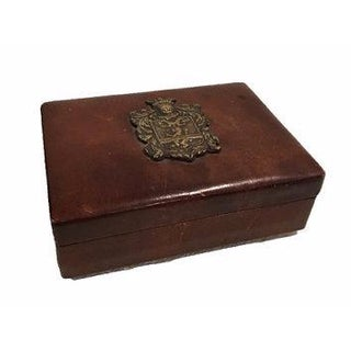 Leather Card Holder Box With Crest