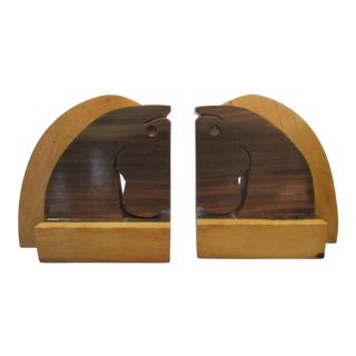 Vintage Hand Made Wooden Horse Head Bookends - A Pair