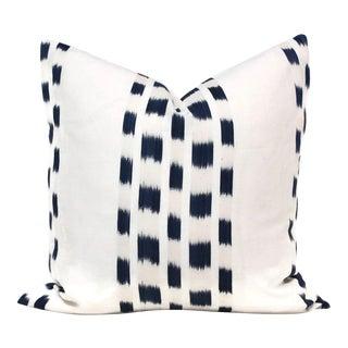 """20"""" x 20"""" Schumacher Blue Izmir Ikat Decorative Pillow Cover"""