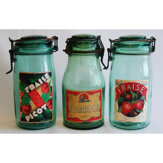 1930s French Canning Preserve Jars w/ Labels & Lids - Set of 3 - Image 2 of 8