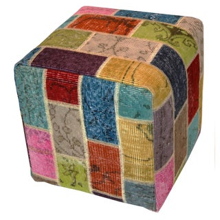 Multi Color Patchwork Ottoman Pouf