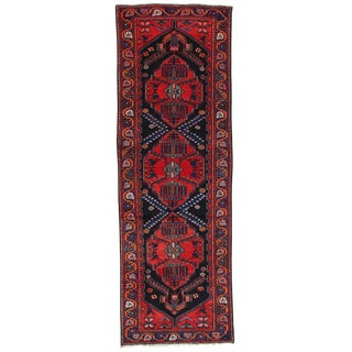 "Pasargad NY Semi-Antique Persian Hamadan Hand Knotted Wool & Cotton Rug - 3'5""x9'x9"""