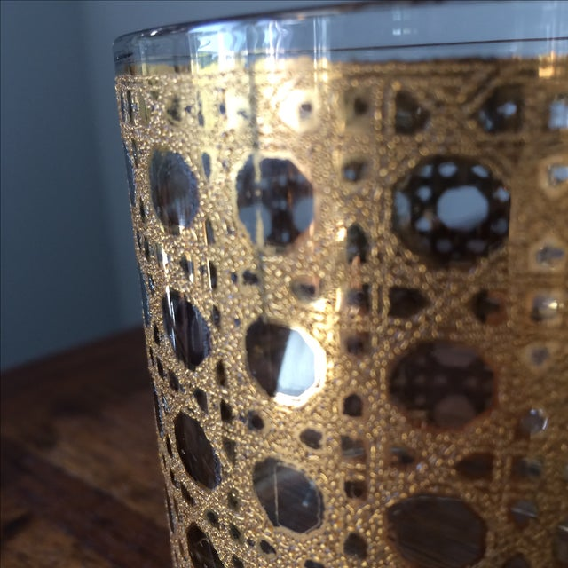 Image of Mid-Century Gold Caning Glasses - Set of 5