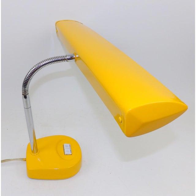 Antique Marigold Yellow Goose Neck Tanker Desk Lamp - Image 5 of 7